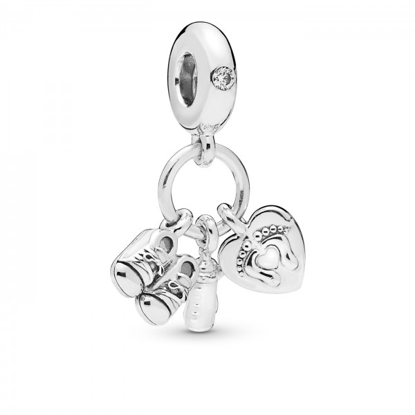 Pandora Moments Bedel Baby Bottle Shoes and Heart 798106CZ