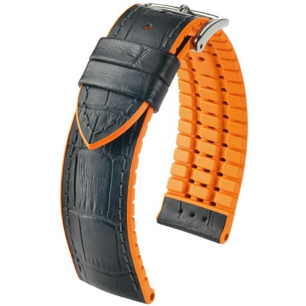 Hirsch horlogeband Andy L 22mm Zwart met oranje accent