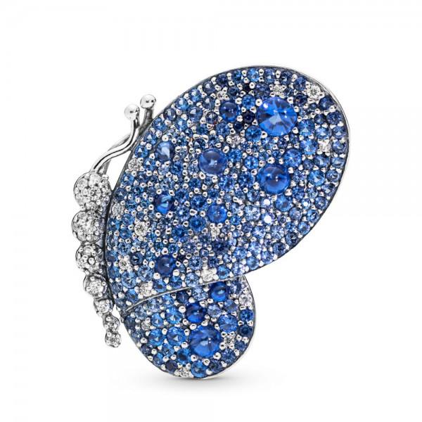 Pandora Stories Dazzling Blue Butterfly Broche Dames 697996NCB Zilver Zirkonia Kristal