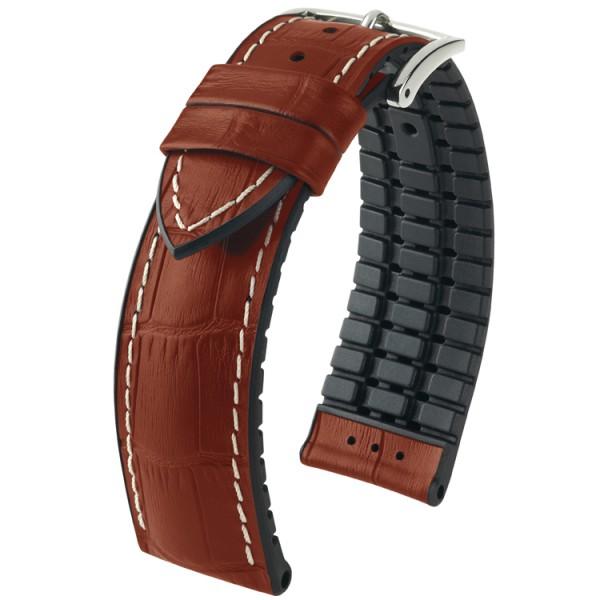 Hirsch horlogeband George L 24mm Bordeaux-Bruin