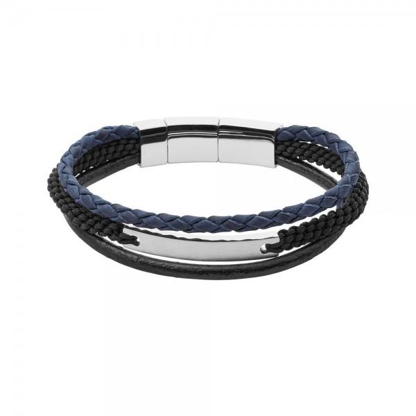 Fossil Mens Vintage Casual Heren Armband JF02633040 Zwart Blauw Leer RVS