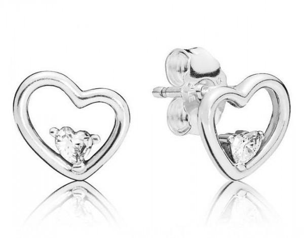 Pandora Hearts of Love Oorknoppen Dames 297813CZ Zilver Zirkonia