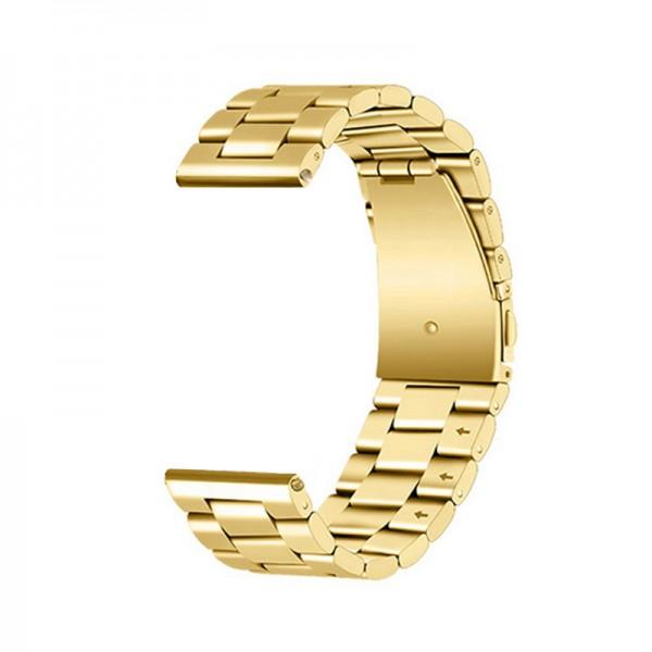 Horlogeband goudkleurig - vouwsluiting met drukknoppen - edelstaal 20mm