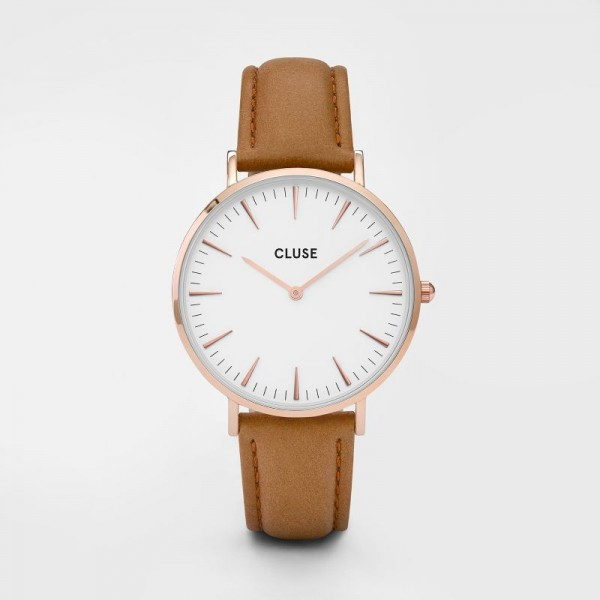 CLUSE LA BOHÈME ROSE GOLD WHITE/CARAMEL 38 MM HORLOGE CL18011