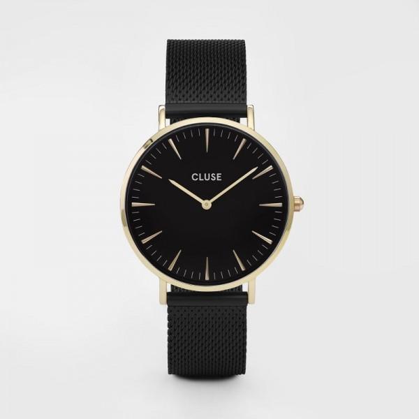 CLUSE LA BOHEME MESH GOLD BLACK/BLACK 38MM HORLOGE CL18117