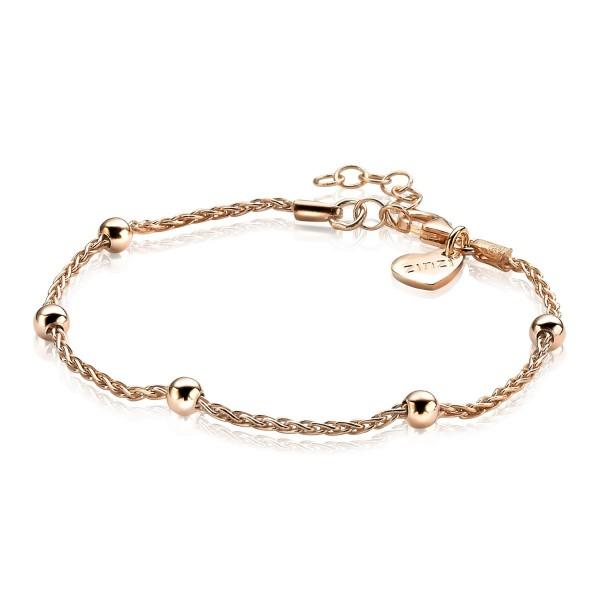 Zinzi Armband Dames Popcornschakel 5 Beads ZIA1128R Roséverguld Zilver