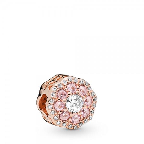 Pandora Moments Pink Sparkle Bedel Dames 787851NPM Zilver Zirkonia Kristal