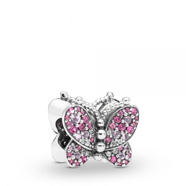Pandora Dazzling Pink Butterfly Bedel Dames 797882NCCMX Zilver Zirkonia Kristal
