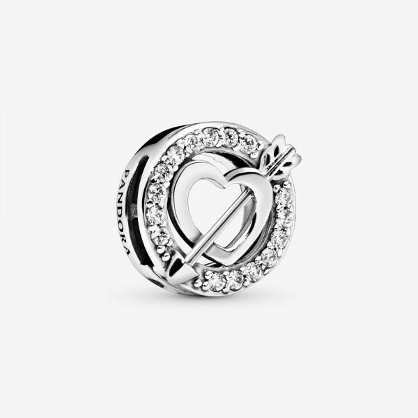 Pandora - Asymmetrical Heart and Arrow Clip Bedel - 797793CZ