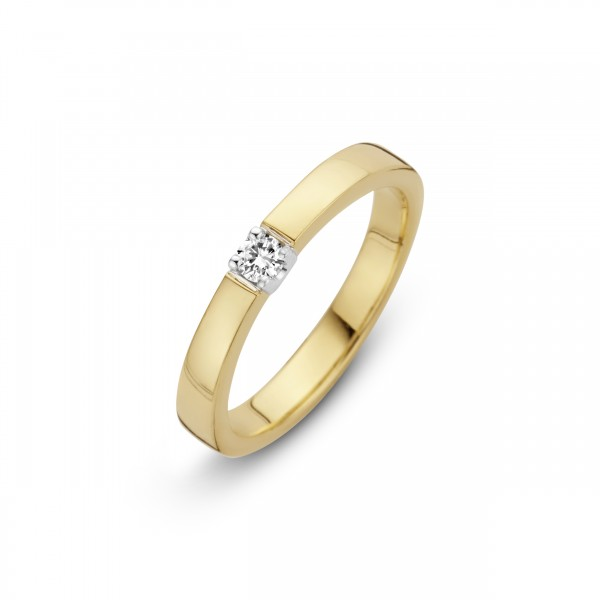 Briljant - Memoire Gouden Damesring 0,09crt Diamant