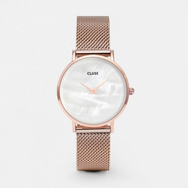 CLUSE MINUIT LA PERLE MESH ROSE GOLD/WHITE 33 MM HORLOGE CL30047