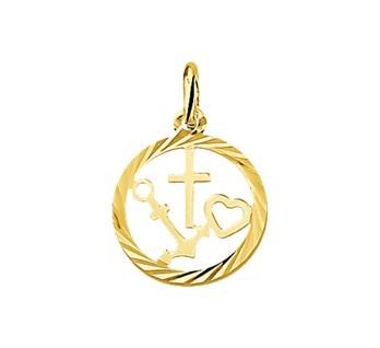 Gouden Geloof Hoop Liefde hanger bedel 14karaat