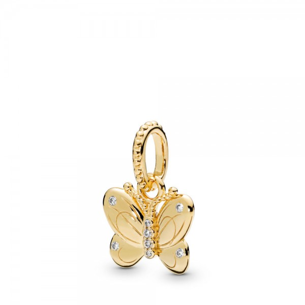 Pandora Stories Shine Butterfly Hanger Dames 367962CZ Verguld Zilver Zirkonia