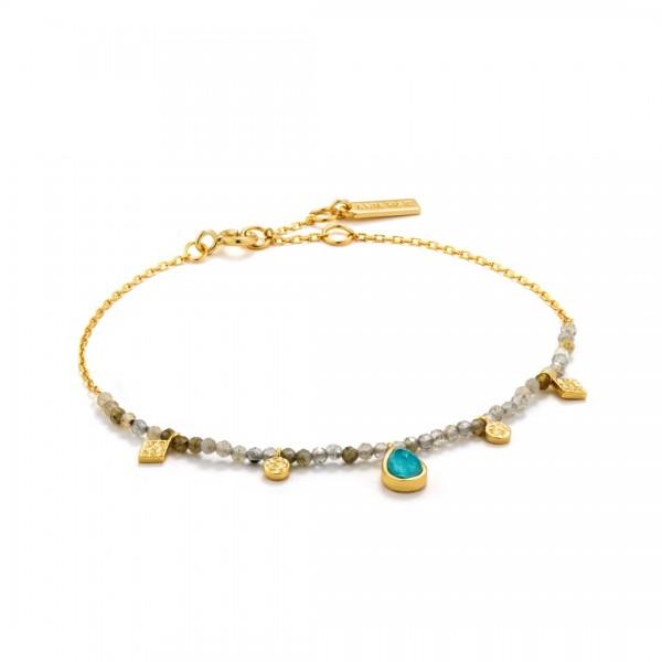 Ania Haie - Turquoise Labradorite Armband B014-03G Goudkleurig