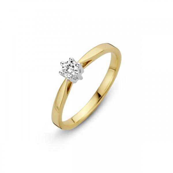 Briljant - Classico Gouden Damesring 0,03crt Diamant