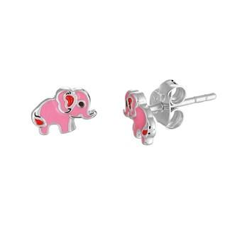 Zilveren Oorknopjes Olifant - Roze