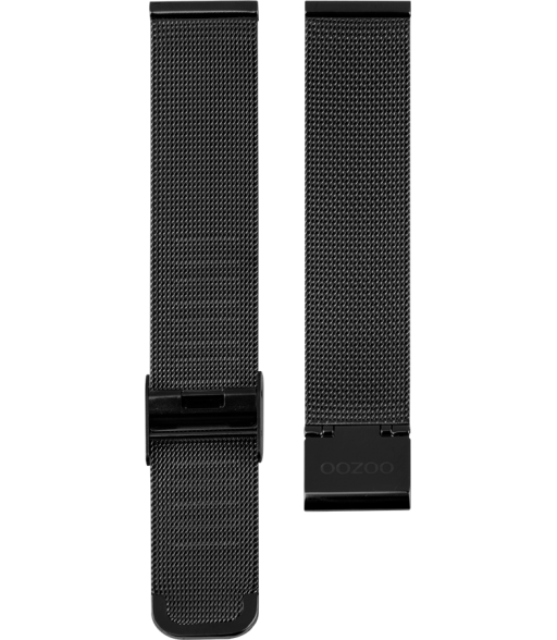 OOZOO horlogeband Milanees-Mesh edelstaal zwart 12mm