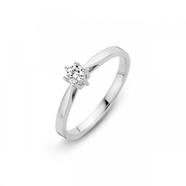 Briljant - Classico Witgouden Damesring 0,05crt Diamant