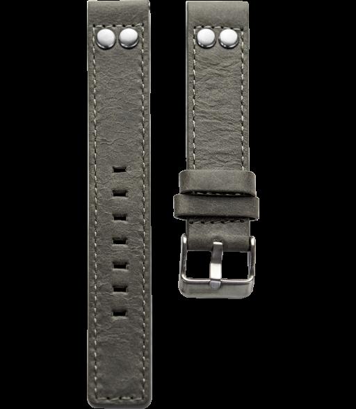 OOZOO horlogeband grijs leer met studs 18mm