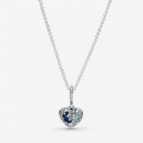 Pandora - Sparkling Blue Moon & Stars Heart Ketting - 399232C01-50