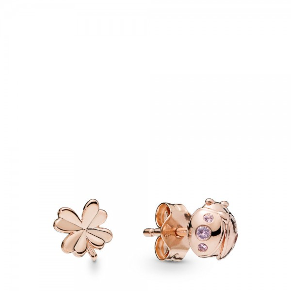 Pandora Stories Four-Leaf Clover and Ladybird Oorknoppen Dames 287960NPO Zilver Kristal