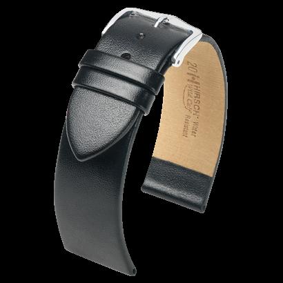 Hirsch horlogeband - Wild Calf Zwart 20mm extra lang