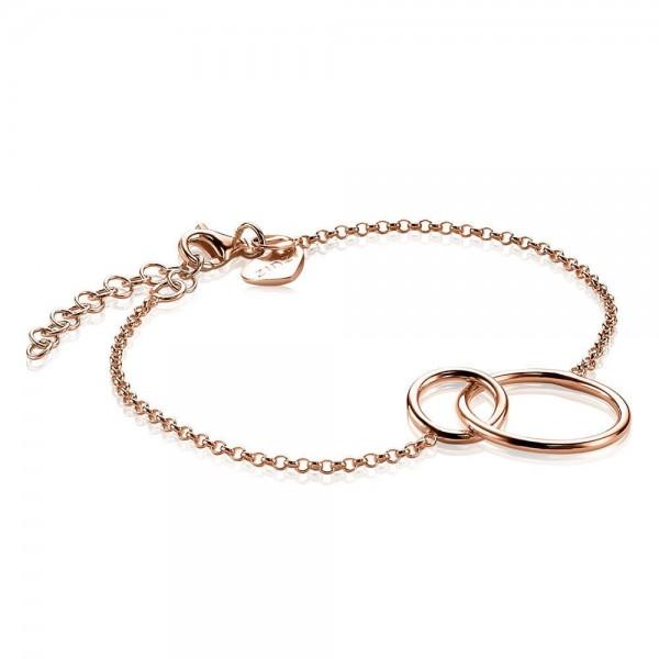 Zinzi Armband Dames Fantasieschakel Ronde Vormen ZIA1278R Roséverguld Zilver
