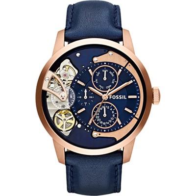 Fossil Townsman ME1138 horloge 44mm blauw rosé