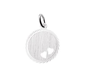 Graveerhanger rond zilver twee hartjes - 16mm