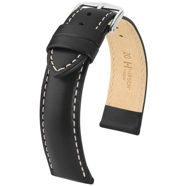 Hirsch horlogeband - TROOPER zwart leer 22mm