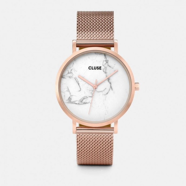 CLUSE LA ROCHE MESH ROSE GOLD/WHITE MARBLE 38 MM HORLOGE CL40007