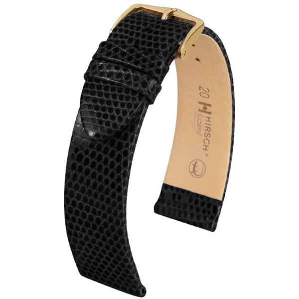 Hirsch horlogeband - Lizard Zwart - 18mm
