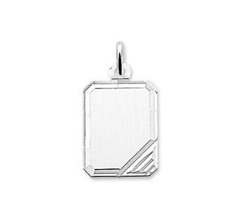 Graveerhanger Rechthoek 18x14mm zilver