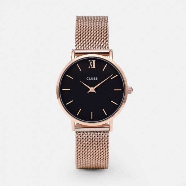 CLUSE MINUIT MESH ROSE GOLD/BLACK 33MM HORLOGE CL30016