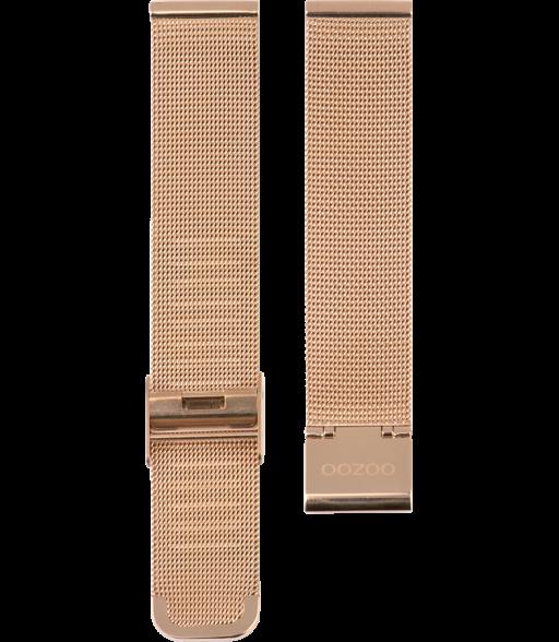 OOZOO horlogeband Milanees-Mesh edelstaal rosékleurig 12mm