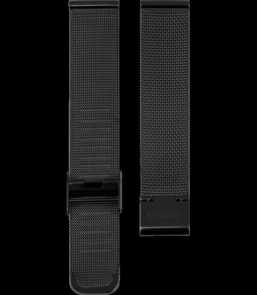 OOZOO horlogeband Milanees-Mesh edelstaal zwart 20mm