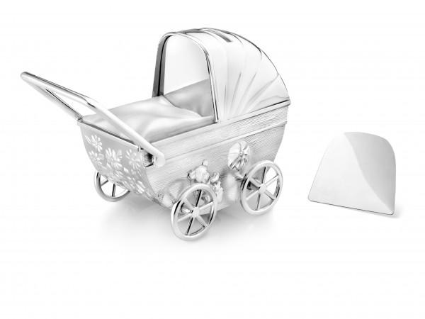 Zilverstad Spaarpot Kinderwagen met graveerplaat Verzilverd