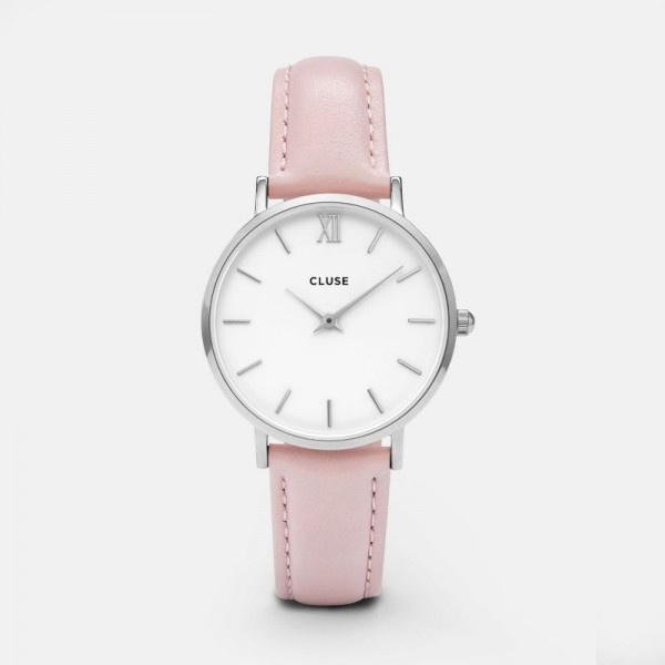 CLUSE MINUIT SILVER WHITE/PINK 33MM HORLOGE CL30005