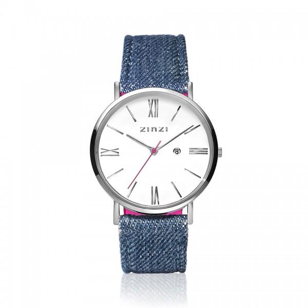 Zinzi Denimblauw Zilver Horloge 34 mm ZIW506D