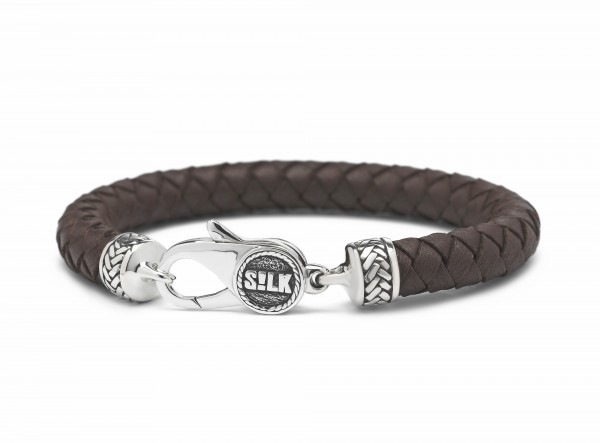Silk armband 845BRN.21 - zilver bruin 21cm