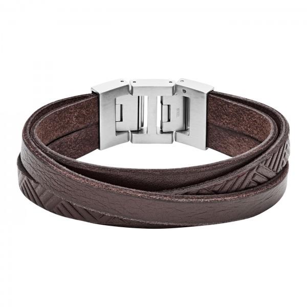 Fossil Vintage Casual Heren Armband JF02999040 RVS Leder