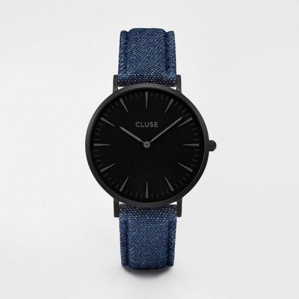 CLUSE LA BOHÈME FULL BLACK/BLUE DENIM 38 MM HORLOGE CL18507