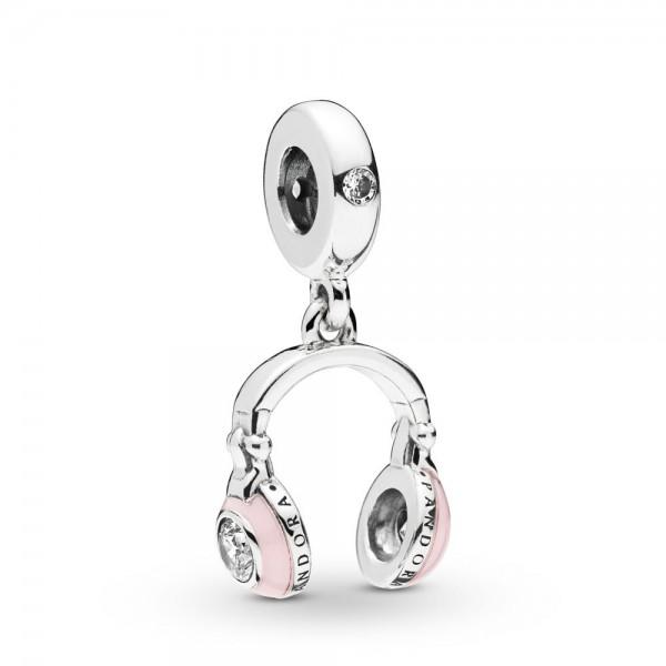 Pandora Moments Pink Headphones Bedel Dames 797902EN160 Zilver Zirkonia Emaille