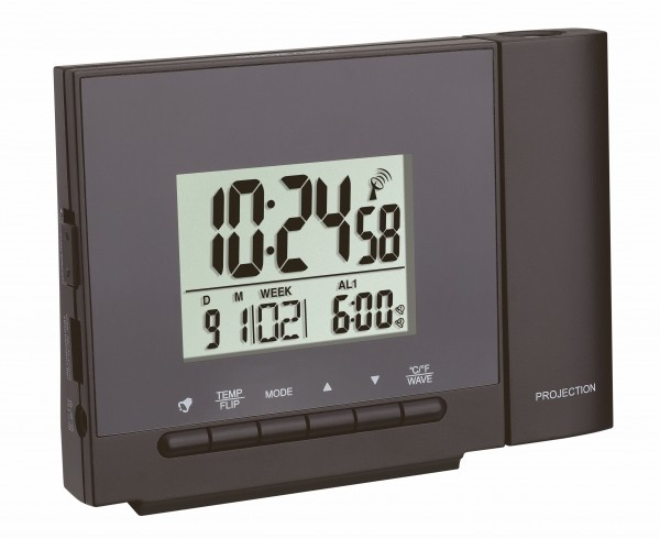 TFA Dostmann Radio Controlled Projection Wekker 60.5013.01 Thermometer Digitaal