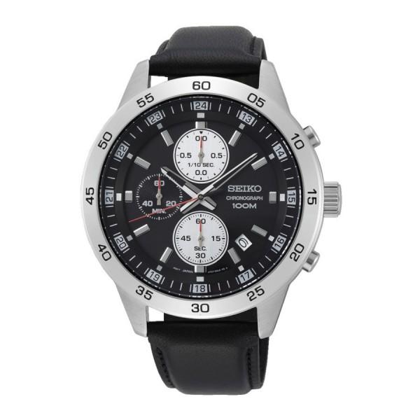 Seiko Chronograph Herenhorloge Quartz Analoog SKS649P1 Zilverkleurig Zwart