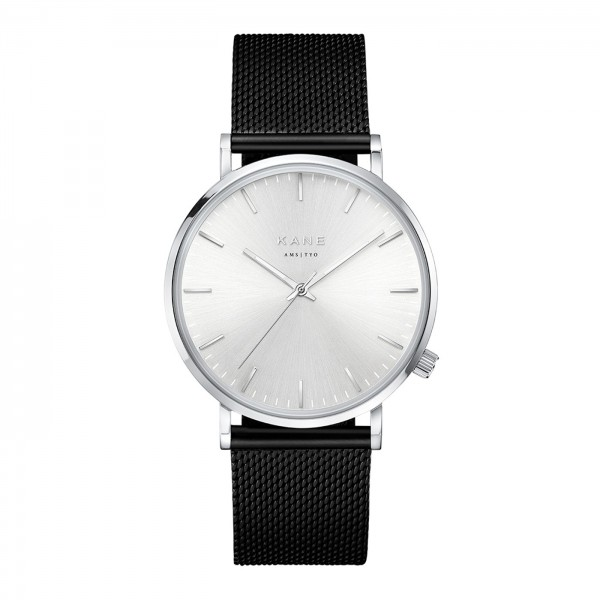 KANE Silver Steel Mesh Black SS100 - 39mm