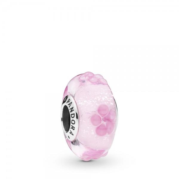Pandora Moments Pink Flower Bedel Dames 797901 Zilver Glas