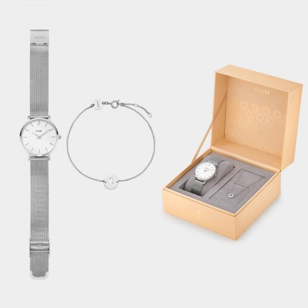CLUSE MINUIT CLG011 HEART SILVER MESH Horloge en Armband GIFT BOX