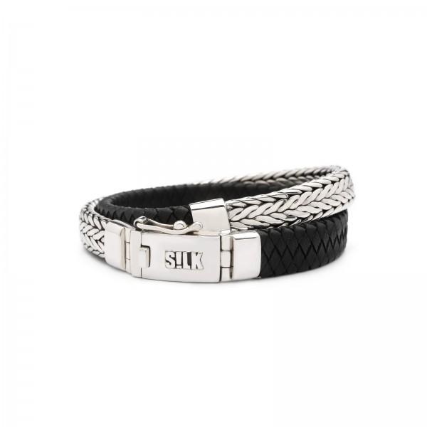 Silk armband 362BLK.19 zilver zwart 19cm
