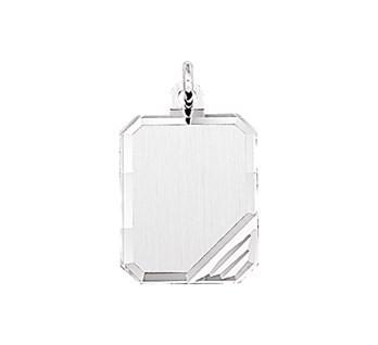 Graveerhanger Rechthoek 16x12mm zilver